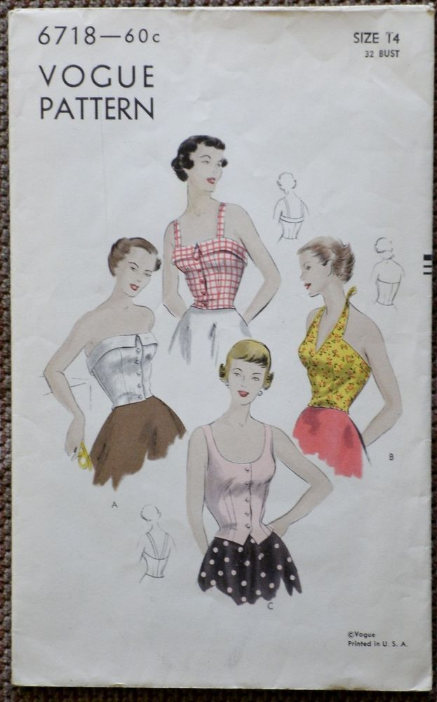 Vintage 1950s Vogue Pattern 6718 Bare Top Bodice Blouse Halter 50s ...
