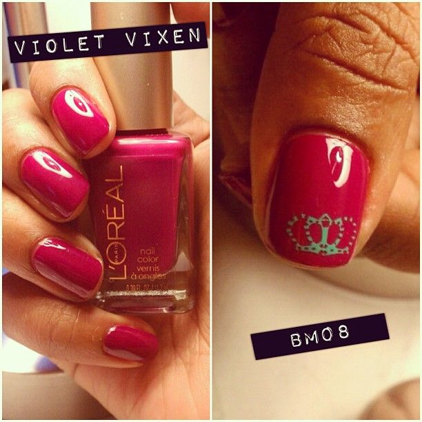 Sunday paint job. As you can still see my stamping is still being perfected.☺. Love this color! It's more purple-ish than it looks. Yes, that is a '0' it's Bundle Monster plate 08. #nails #nailpolish.