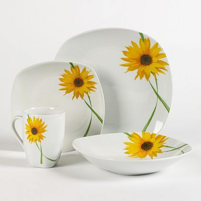 Tabletops Gallery at Kohl\u0027s - This Tabletops Gallery Dolce dinnerware set features place settings for four a sunflower pattern and porcelain construction. & It just makes me happy to know that these exist. It makes me happier ...