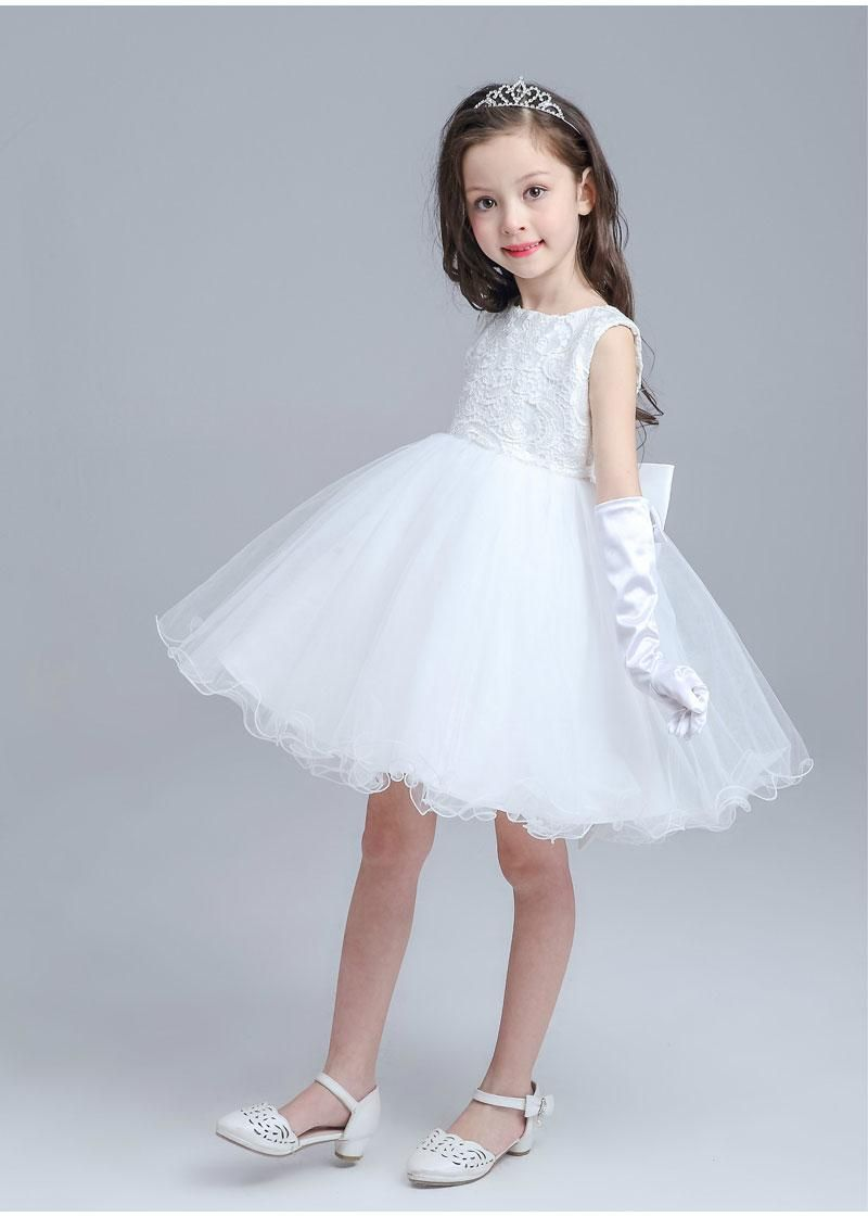 Flower Girl Dresses For Weddings Sleeveless Tutu Elegant White/Grey ...