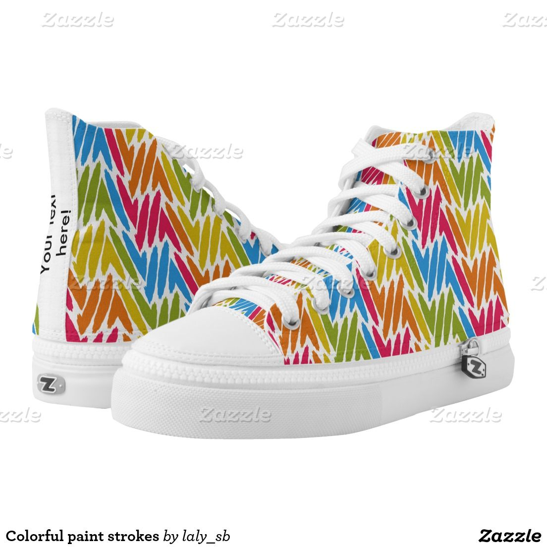 Colorful paint strokes printed shoes