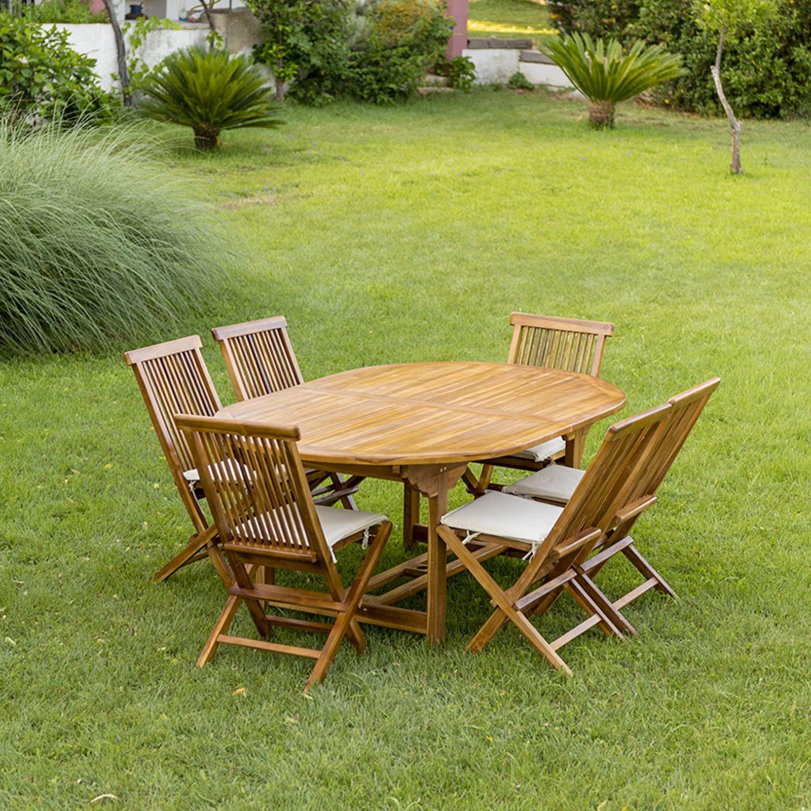 Set pranzo giardino con 6 sedie e 1 tavolo tondo ...