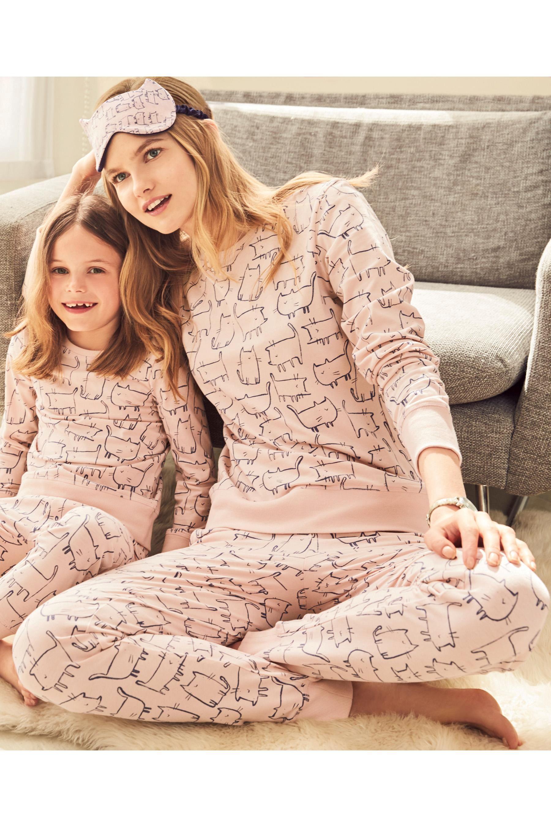 Next Christmas Pyjamas 2019.Buy Pink Cat Print Cotton Pyjamas Womens From The Next Uk