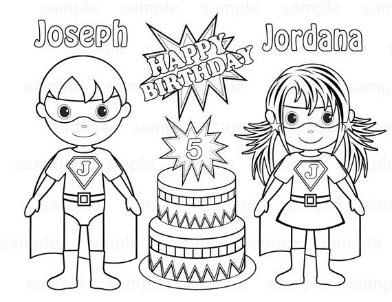 Personalized printable twins superhero super hero girl birthday party favor childrens kids coloring page book activity pdf or jpeg file