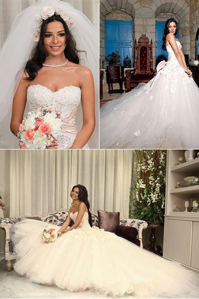 2016 New Nadine Njeim Wedding Dresses Lace Lique Sweetheart Sleeveless Backless Bow Custom Made Fashion Beads