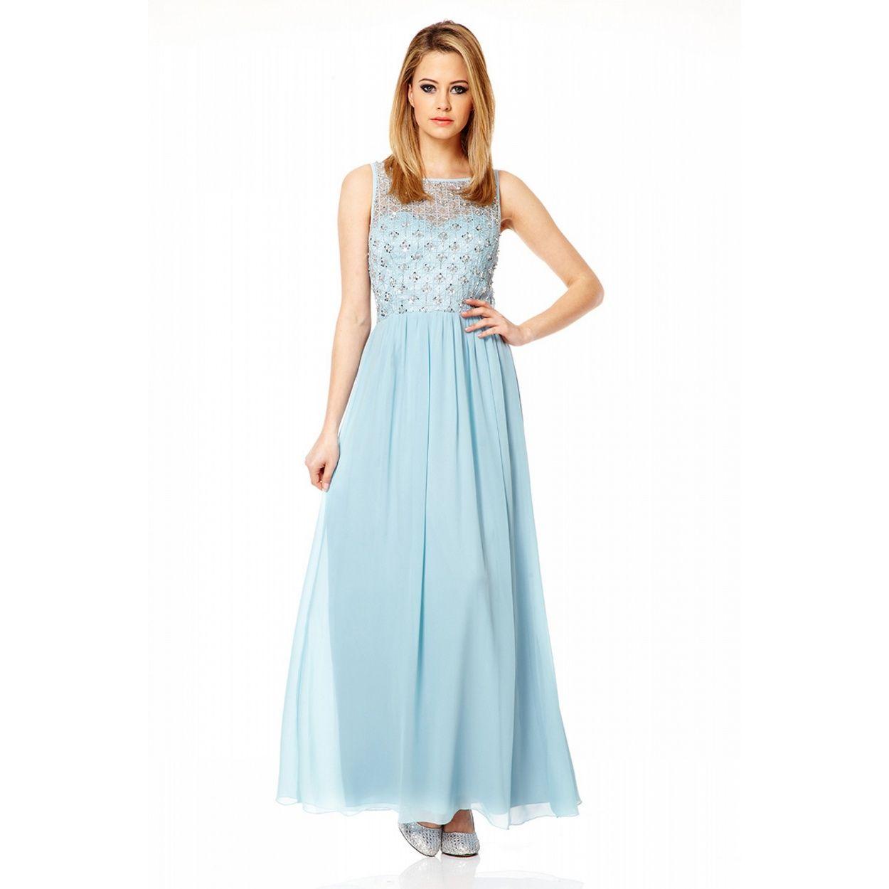 Quiz Pale Blue Mesh Maxi Dress- at Debenhams.com   Bridesmaid ...