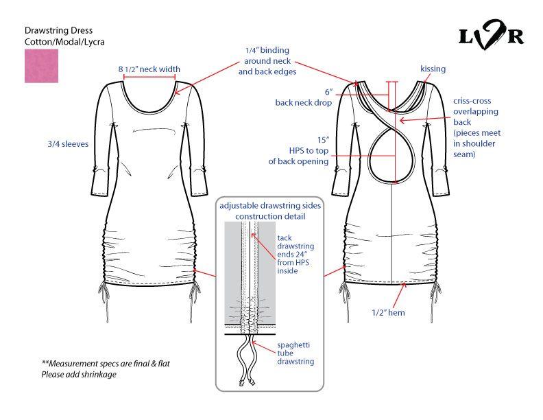 Women's drawstring dress tech flat sketch #fashiondesign