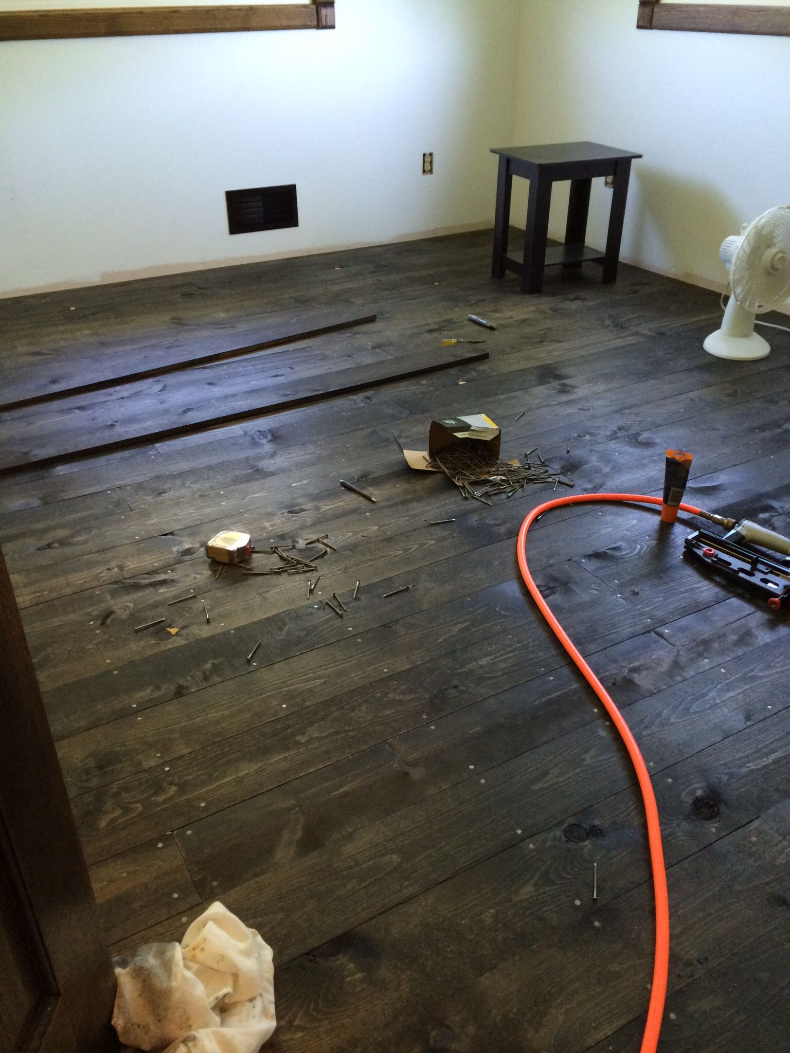 New Hardwood Floors Made Out Of 1x6 Pine Boards For Our Sons Room Hardwood Floors House Design Yellow Houses