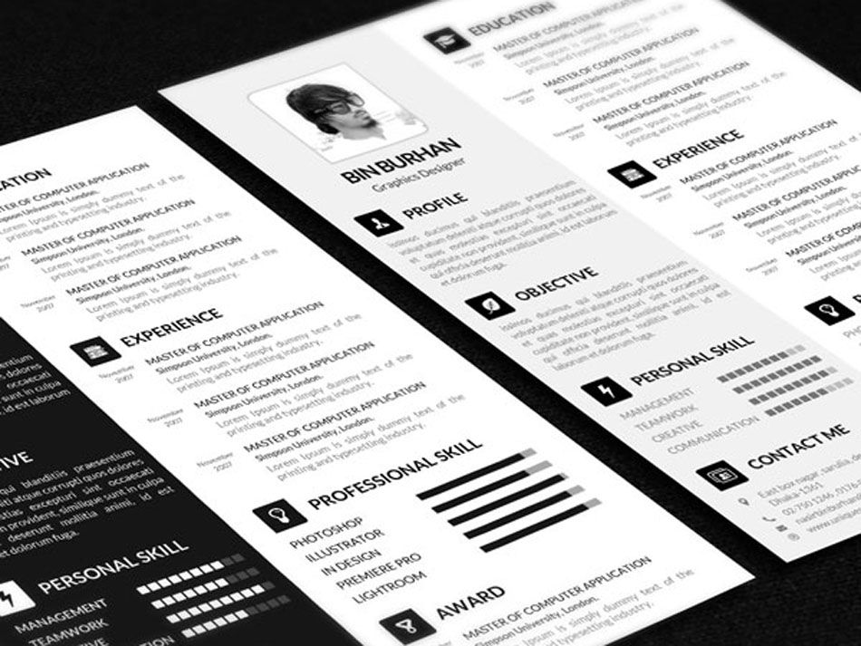 Free CV Resume Template in PSD file Format Cv resume