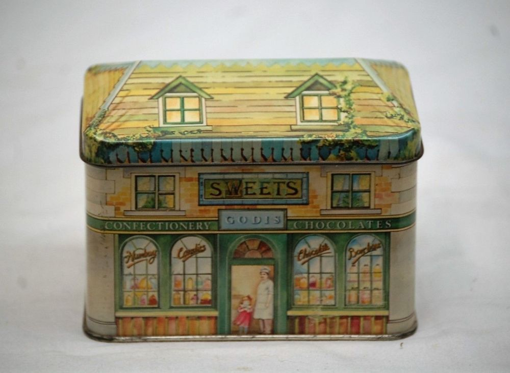 Old Vintage Godis Sweets Advertising Metal Tin Can Storage Container