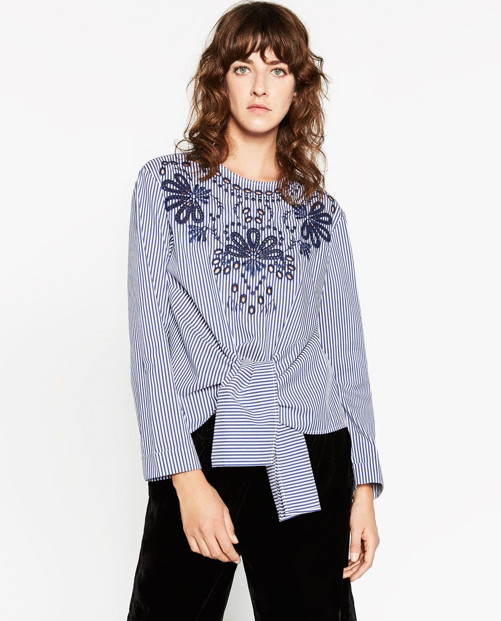STRIPED OFF THE SHOULDER POPLIN TOP View all TOPS WOMAN