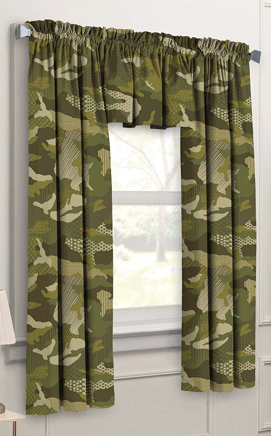 3 window bedroom curtains  piece camouflage kids bedroom curtain panel set green  ease