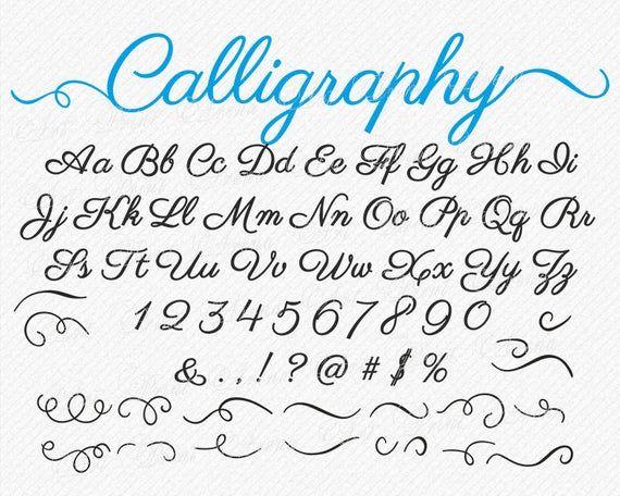SVG-Schriftarten SVG-Schriftart mit Wirbeln wirbeln Cricut Schrift Silhouette Digital Alphabet instant Download handschriftliche Hochzeit Phantasie Cursive Clipart