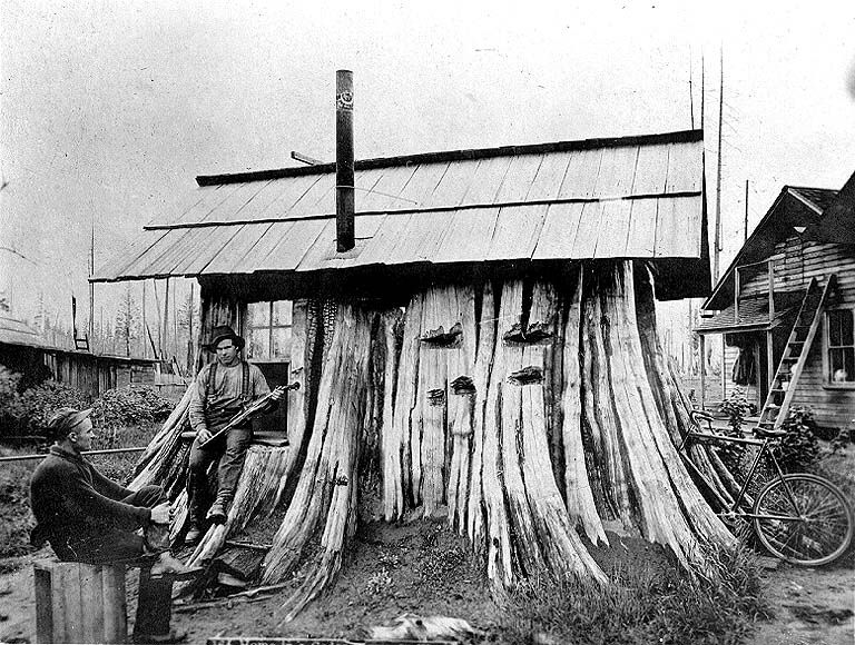 Cedar stump house, Edgecomb, Washington, ca. 1901. From the University of Washington Libraries Digital Collections on Flickr. Submitted by ...