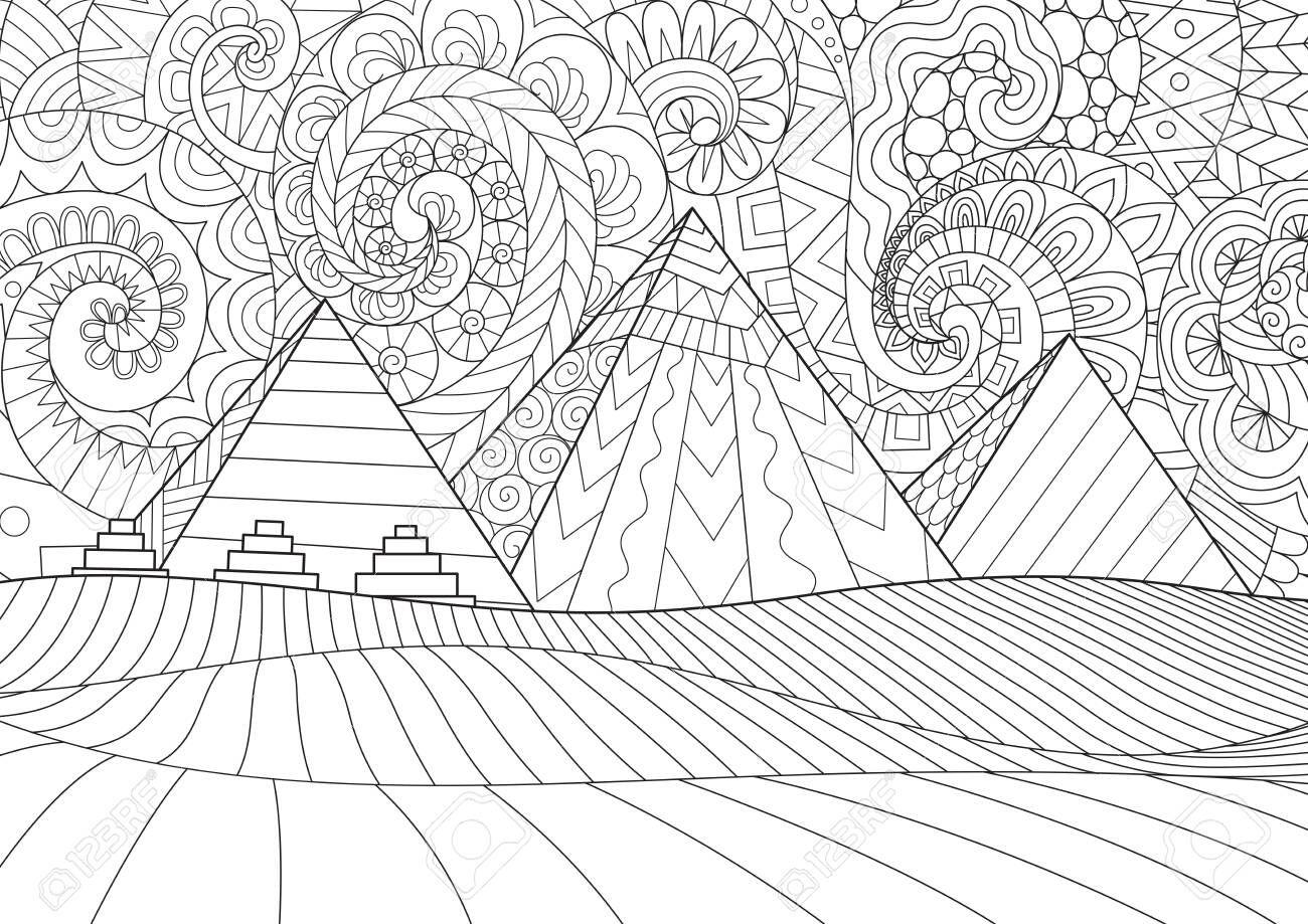 Line art Giza plateau landscape with egyptian pharaohs ...