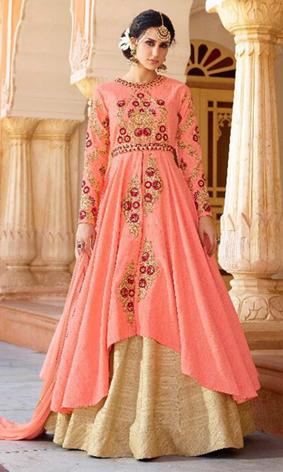 b5042c1242 Buy online Pink and Golden Floor Length Anarkali Suit (SKU Code    SUELEO11604) at Ishimaya Fashion.