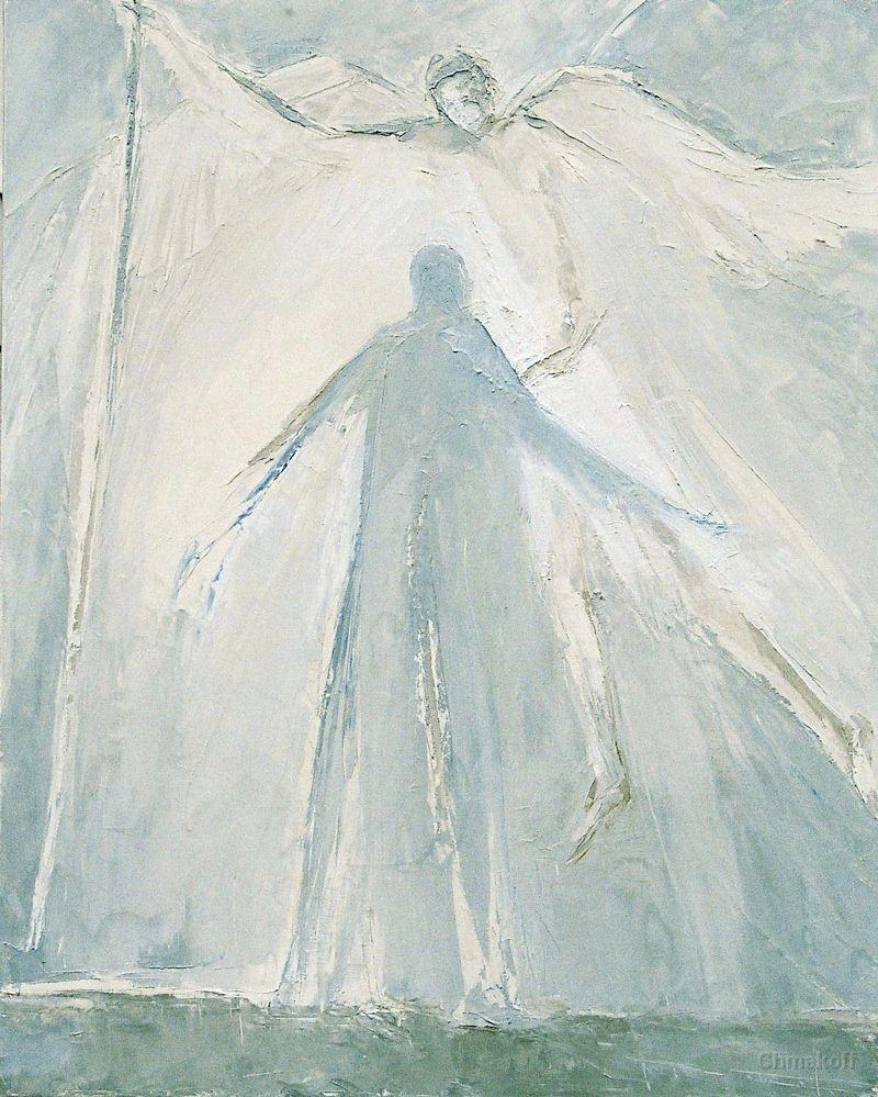 Macha Chmakoff NOUVEAU TESTAMENT et Saints - Annonciation, Marie de dos (73x60)