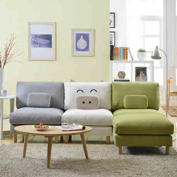 Show Homes Small Pig Japanese Korean Lazy Sofa Single Small Apartment  Living Room Furniture Corner Combination