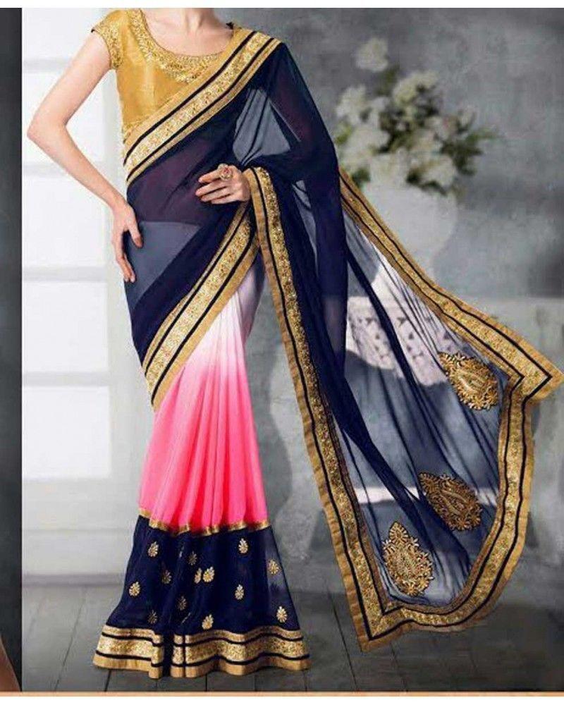 Saree for women wedding pakistani sari embroidered women wedding wear georgette new saree