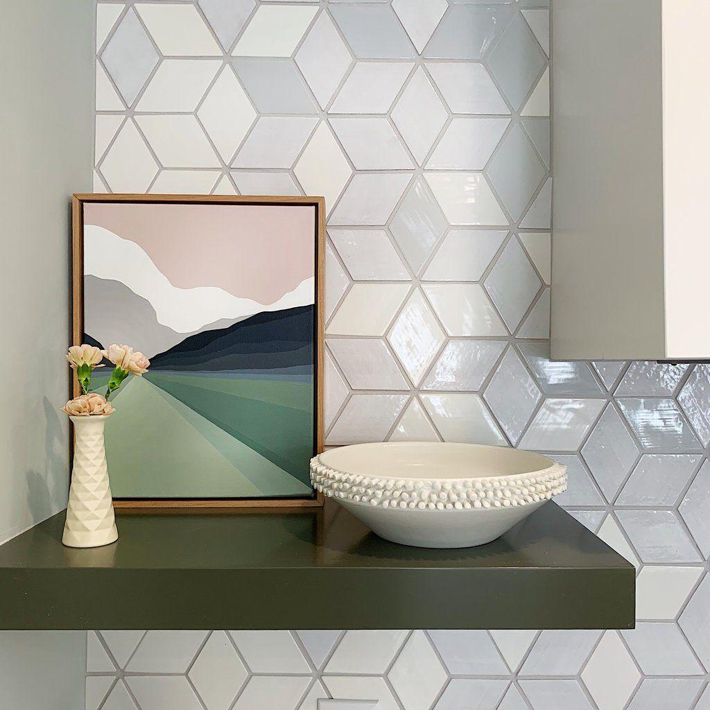 Hgtv Kitchen Ombre Diamond Tile In 2020 Custom Tile Design