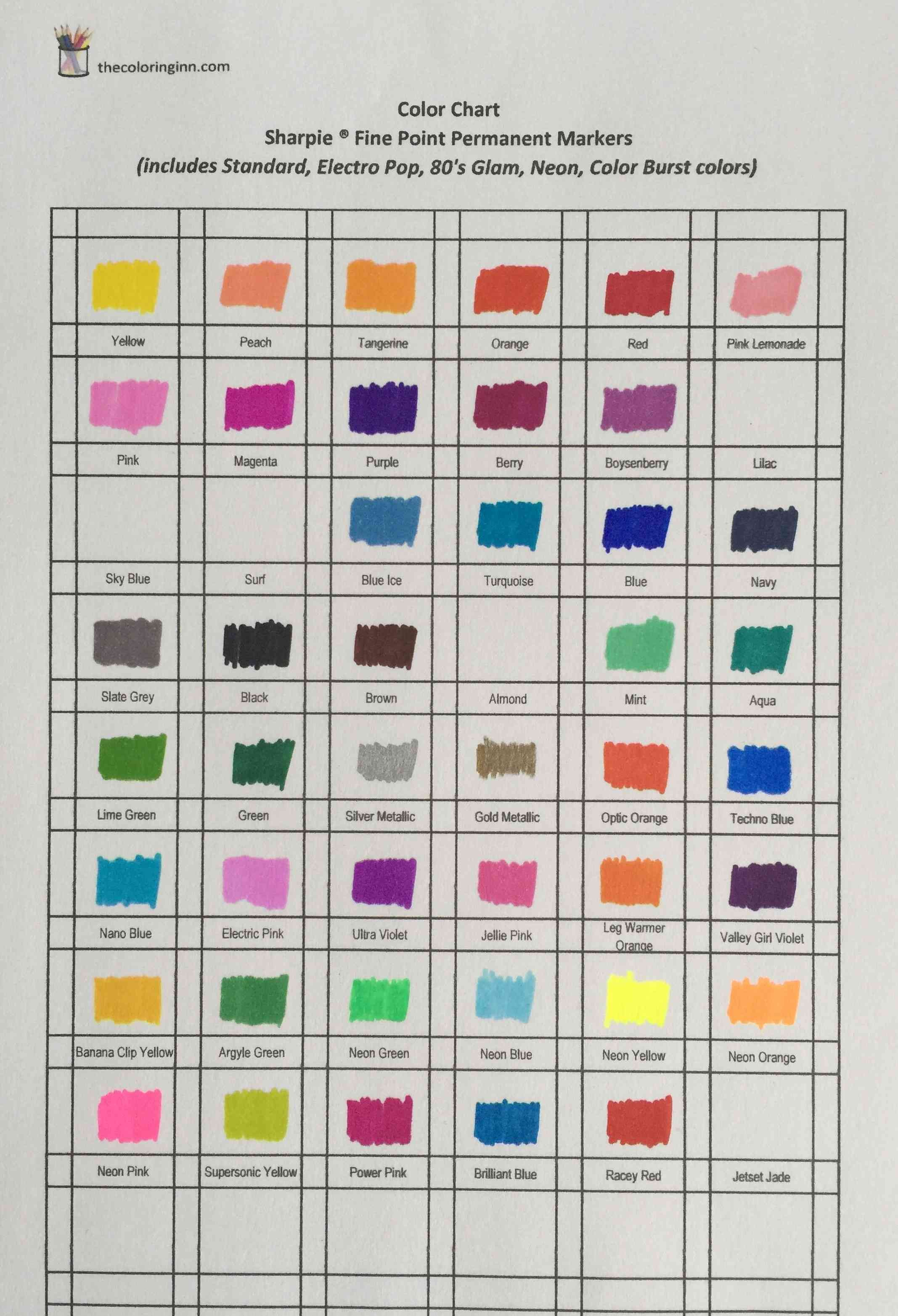 Sharpie Fine Point Markers Color Chart Sharpie Fine Sharpie Colors Color Chart