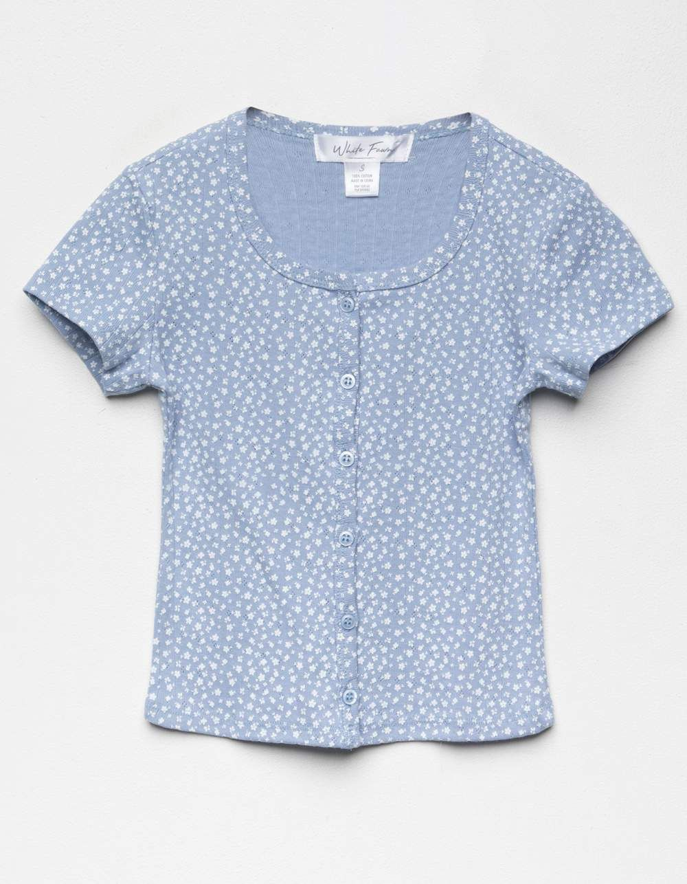 WHITE FAWN Ditsy Button Front Girls Top