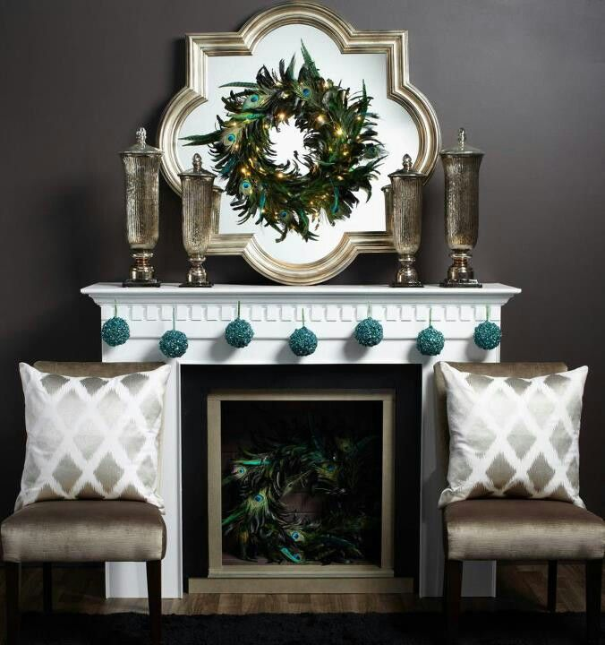 Gorgeous Champagne, Silver and Teal Christmas Mantel with Peacock - contemporary christmas decorations