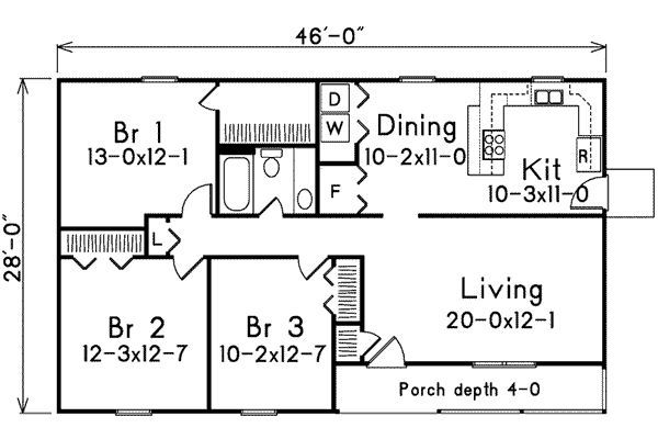 One Level Floor Plans 3 Bed | ... On 1 Levels House Plan Square Feet 1197 Bedrooms  3 Batrooms 1 Levels 1