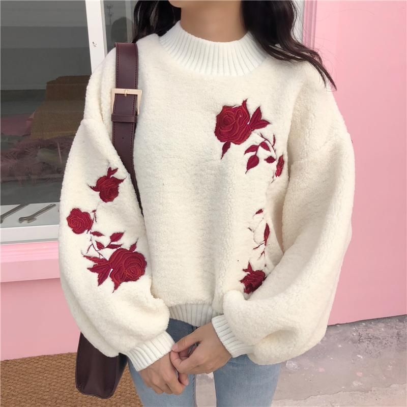 Soft Hearted This Tumblr Aesthetic White Jumper With Red Roses Embroided On Paired With Light