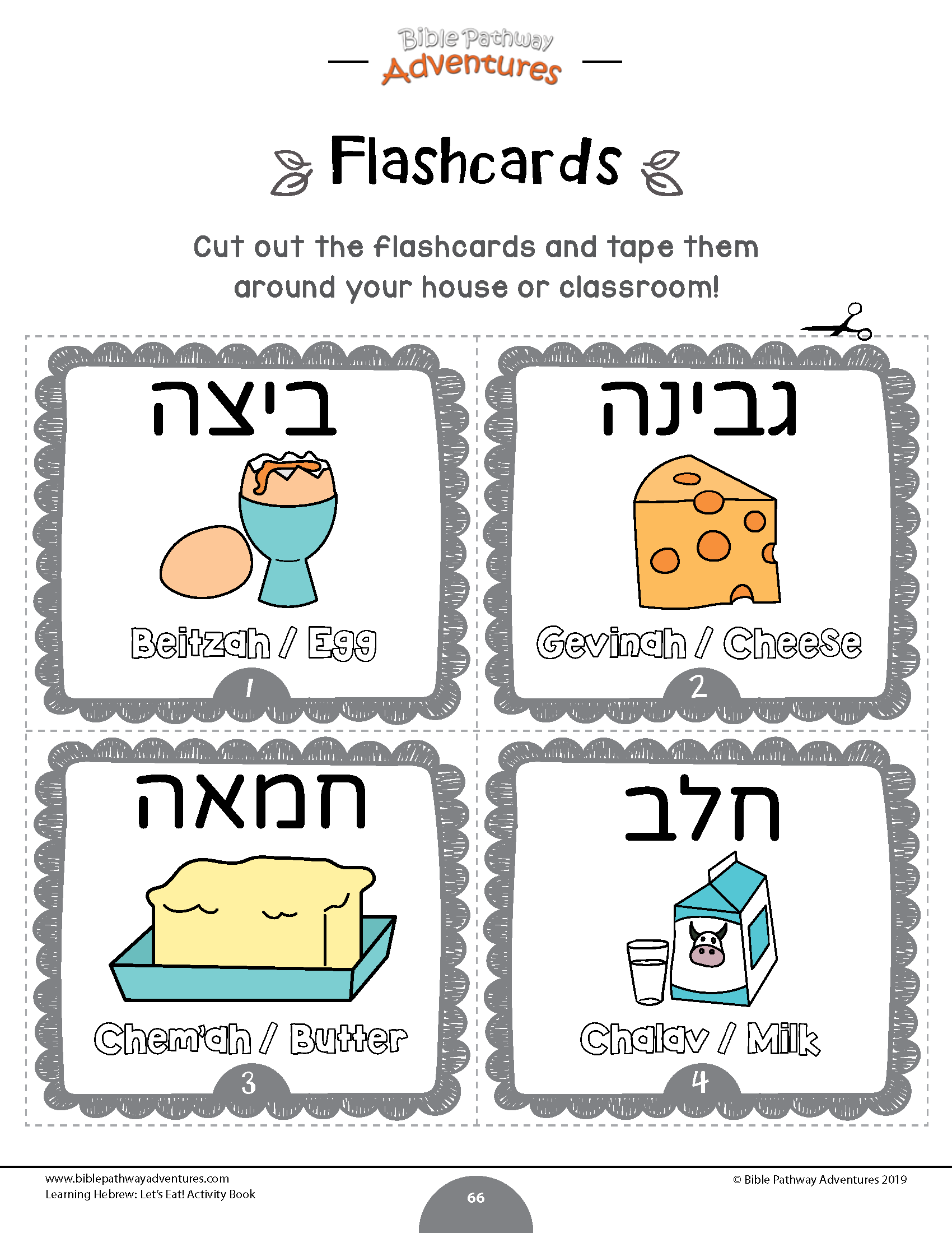 Hebrew Food Flashcards For Kids Egg Cheese Butter Milk