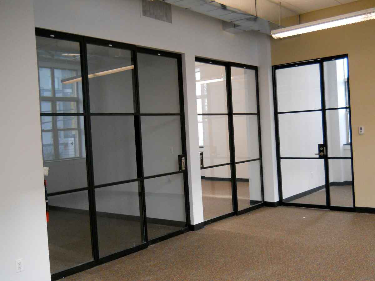 Glass Sliding Partition In Black Aluminum Frame Door Design
