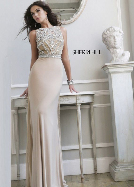 nude beaded top high neck long flowy chiffon prom dress