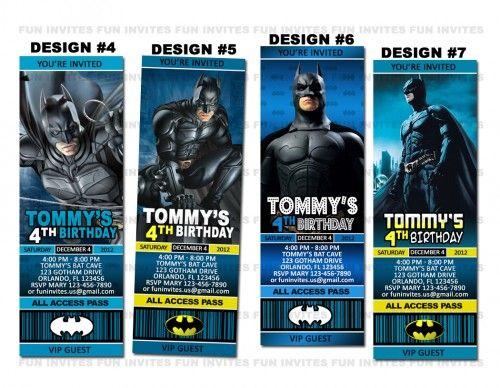 Batman Super Hero Birthday Party Ticket Invitations Custom - movie ticket invitations printable free