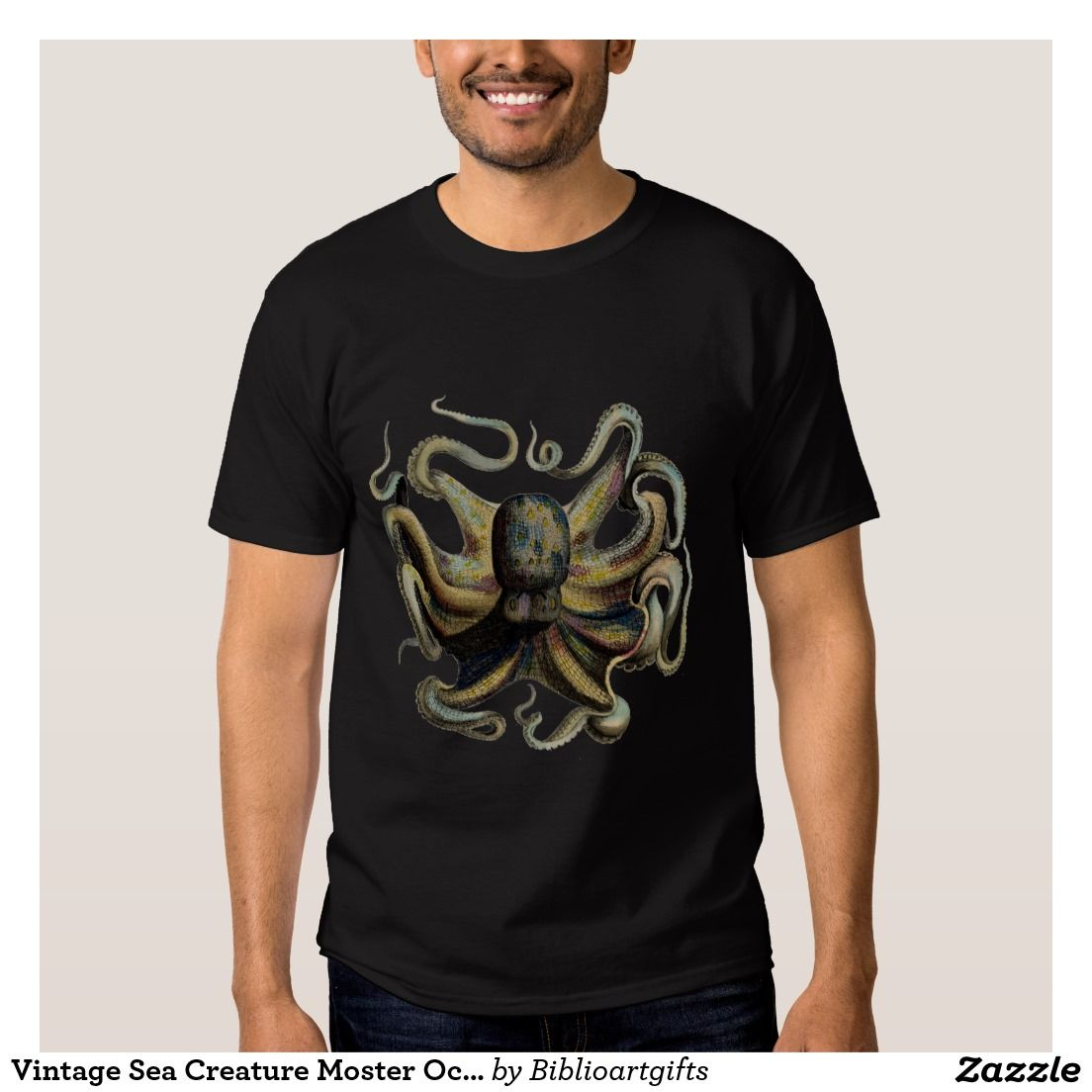 Vintage Sea Creature Moster Octopus Graphic T-shirt