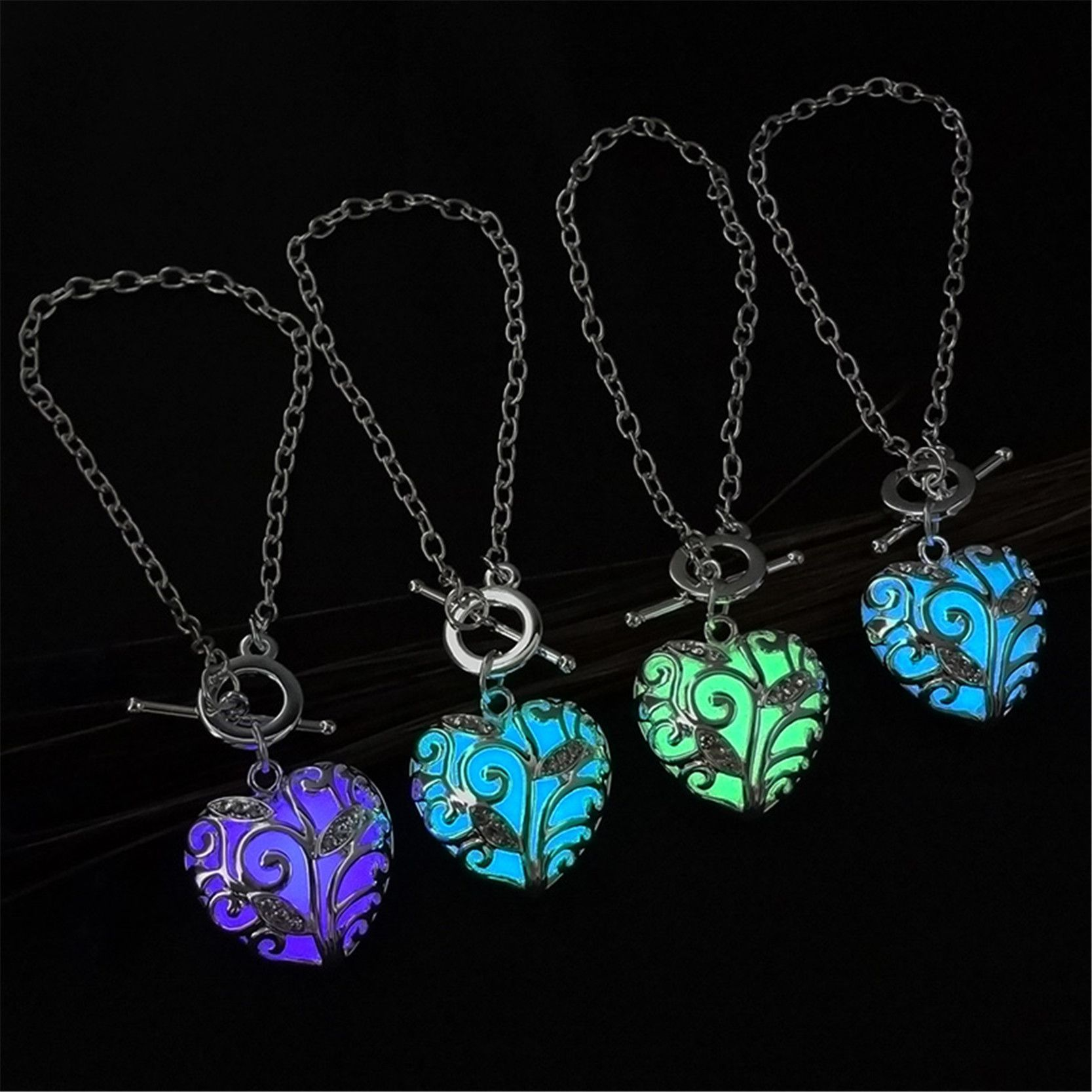 necklace plated glow sea amazon silver glowing dp com jewelry in dark the turtle