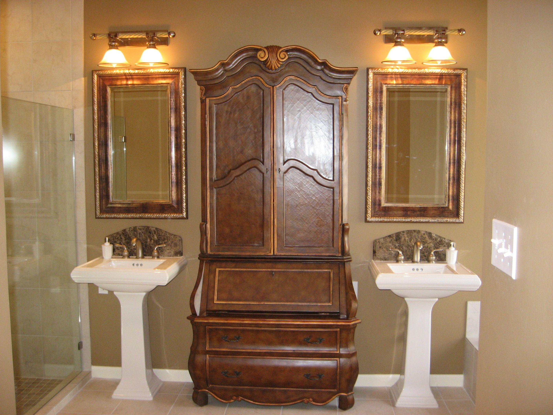 Bathroom Remodel With Pedastal Sinks With Custom Marble