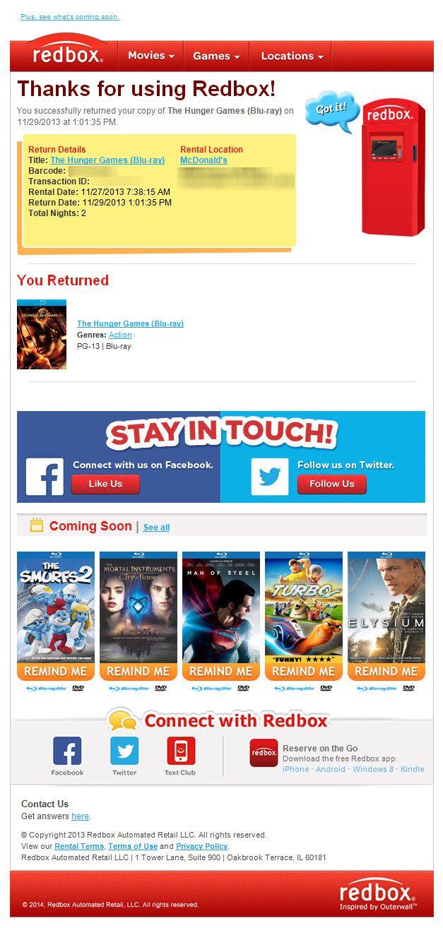 Sl Got It Return Confirmation Email From Redbox Redbox
