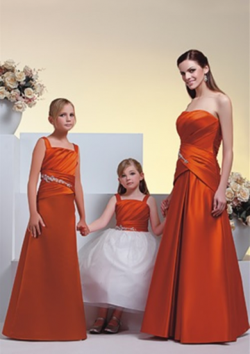 Orange A-line Straps Pleated Bodice Satin Floor Length Junior Bridesmaid Dresses