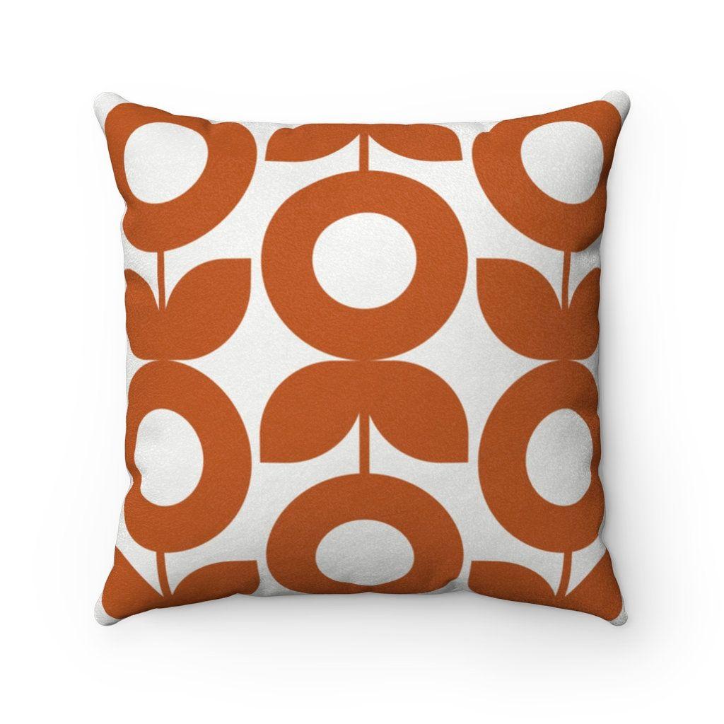 Orange Floral Throw Pillow Cover Mid Century Modern Style Etsy In 2020 Floral Throw Pillows Floral Throw Pillow Covers Throw Pillows