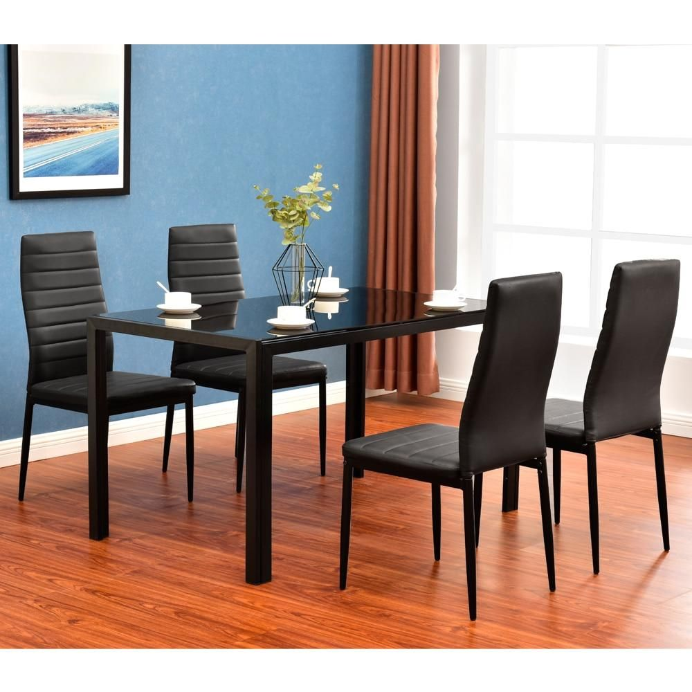 5 Piece Dining Table Set 4 Chairs Glass Top Dining Table