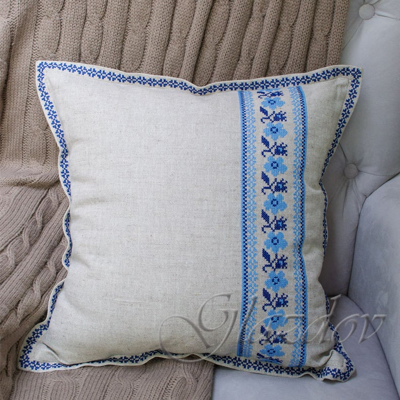 Gray linen pillow cower with embroidered ornament, cross stitched ornament