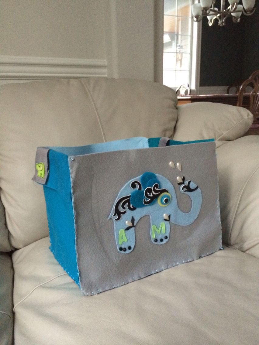 Homemade felt baby bag with removable strap