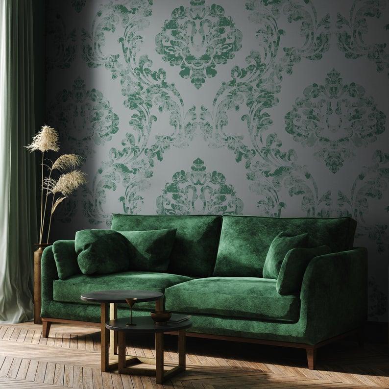 Green Vintage Damask Mural Dark Victorian Wallpaper Retro Etsy Victorian Wallpaper Damask Removable Wallpaper Living Room Green