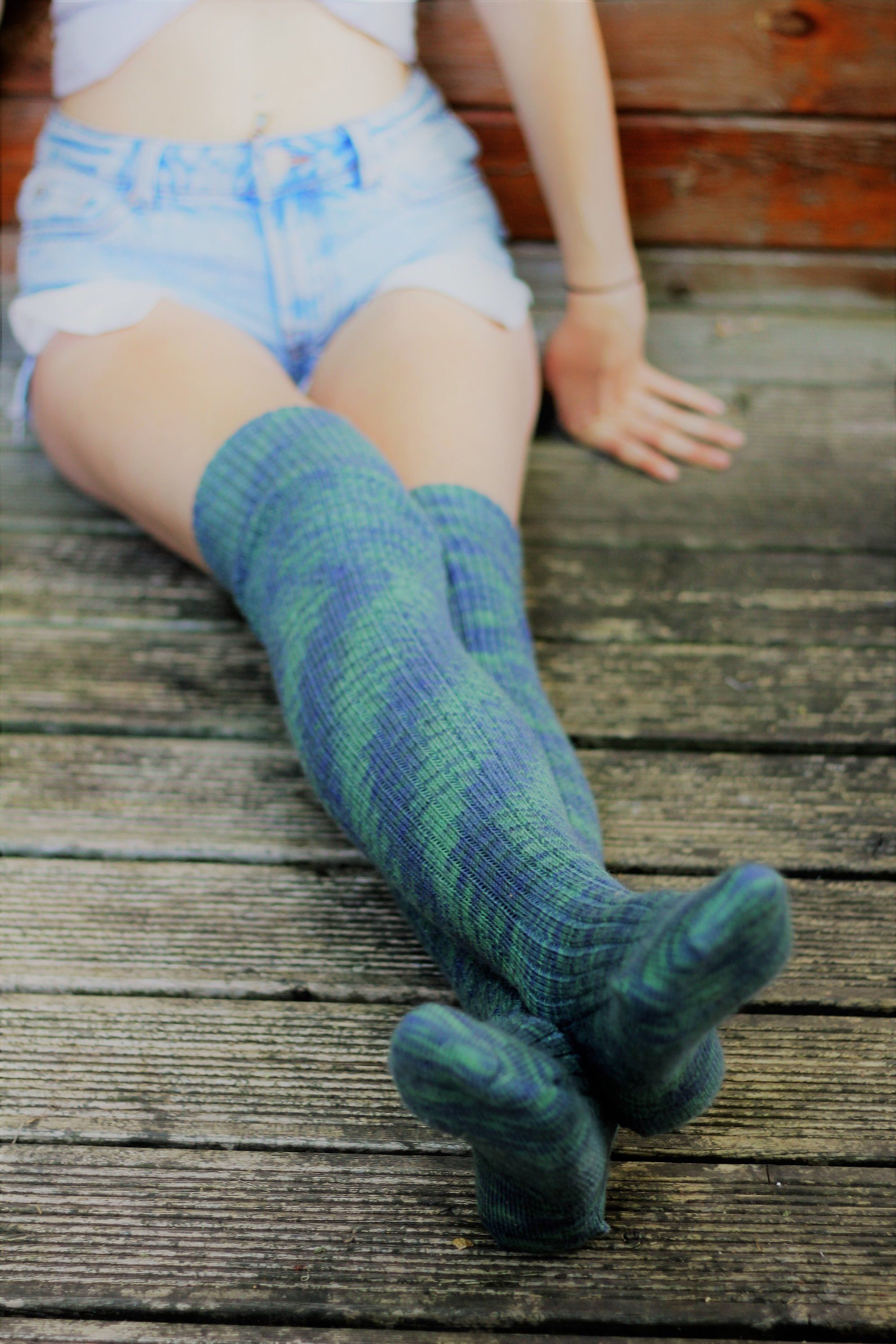 2ee195d25c6 BLUE and GREEN Knee Socks long Winter Wool stockings Over