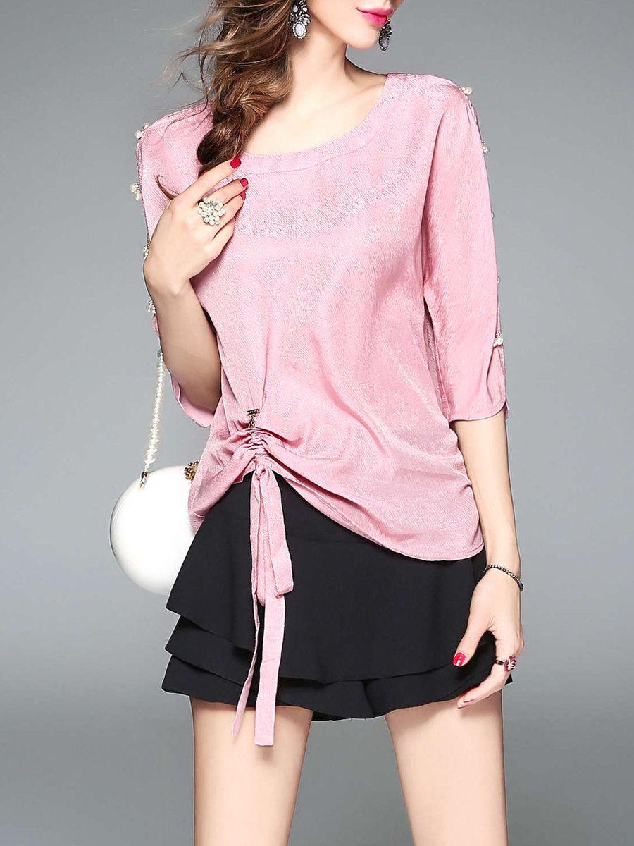 f574f3ca8c3  AdoreWe  StyleWe Blouses - Designer TOOTANG 3 4 Sleeve Beaded Drawcord Casual  Blouse