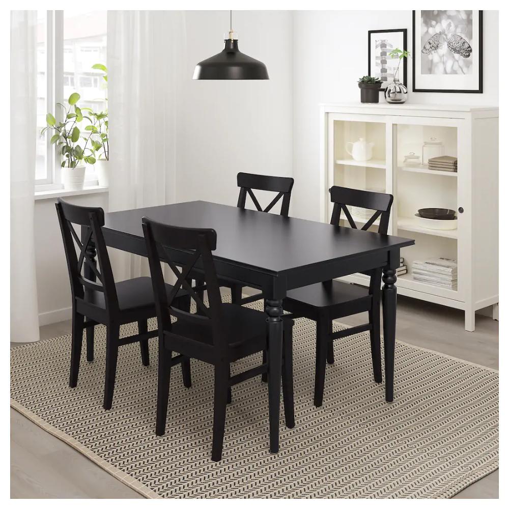 INGATORP Extendable table, black, Length 9