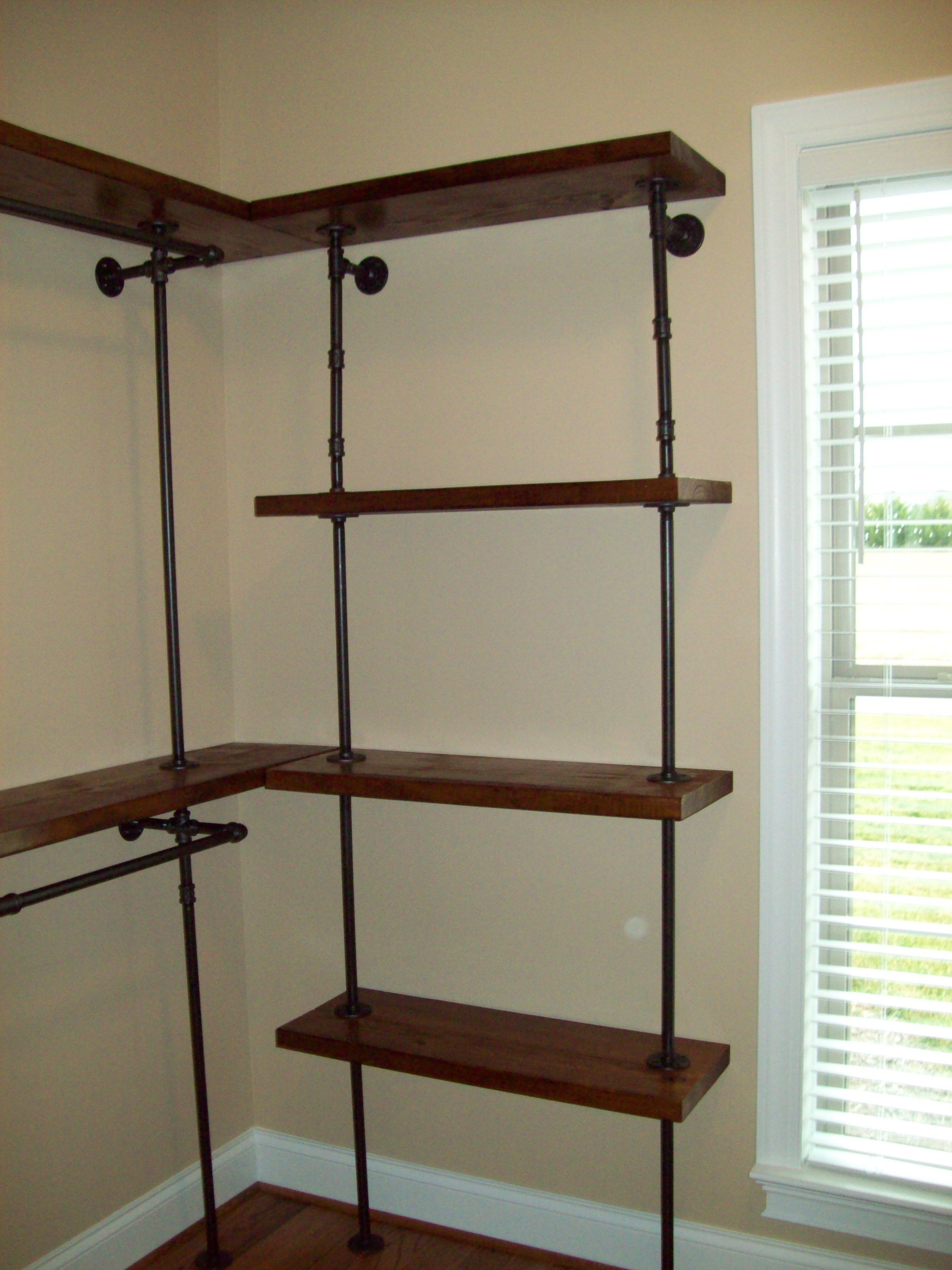 industrial with clothes clothing diy concrete nail rack racks black garment and pipe polish lucy shelves
