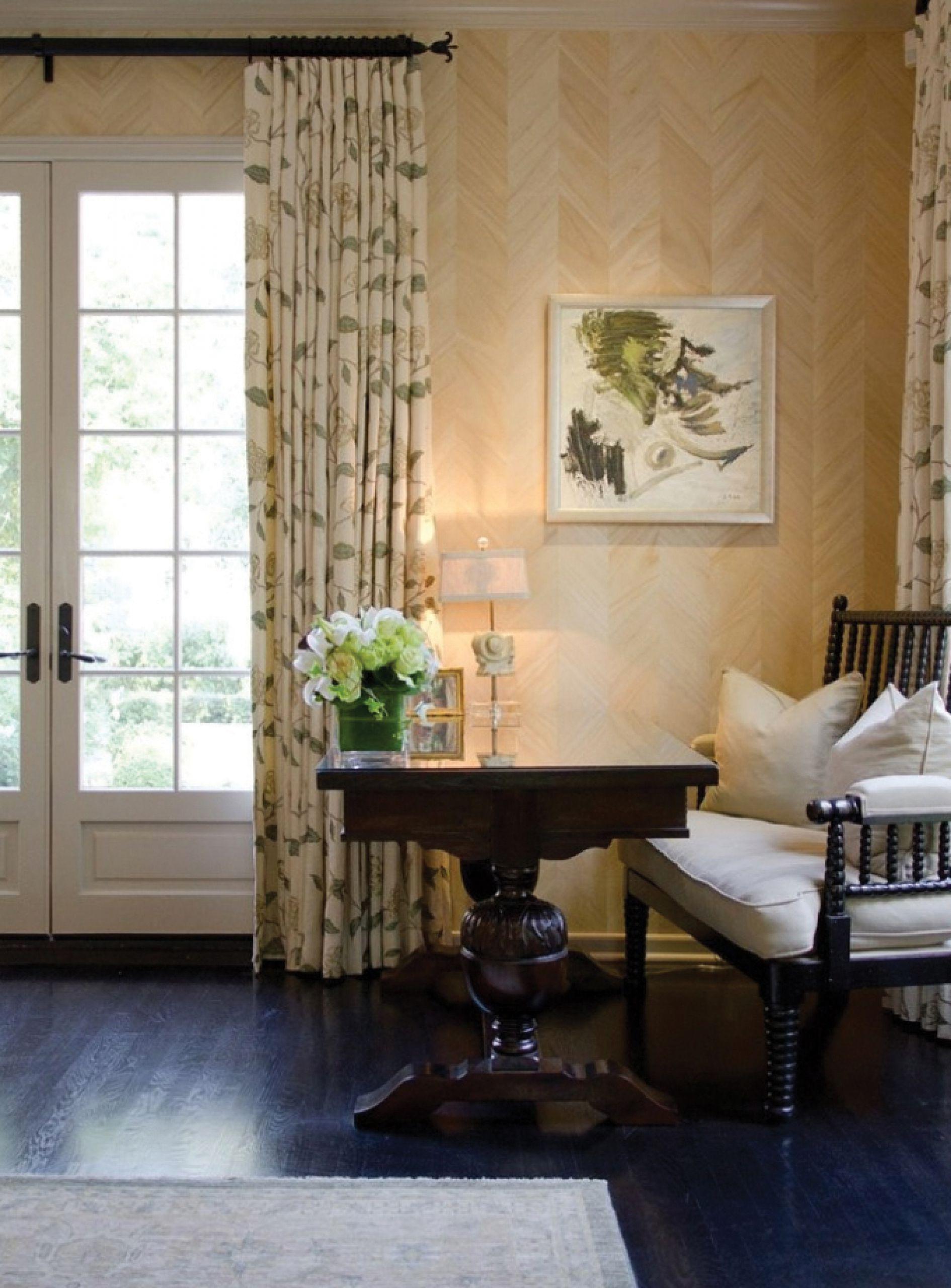Master bedroom hallway  Maya Romanoff Ajiro Chevron wood veneer wallcovering  Wonderful