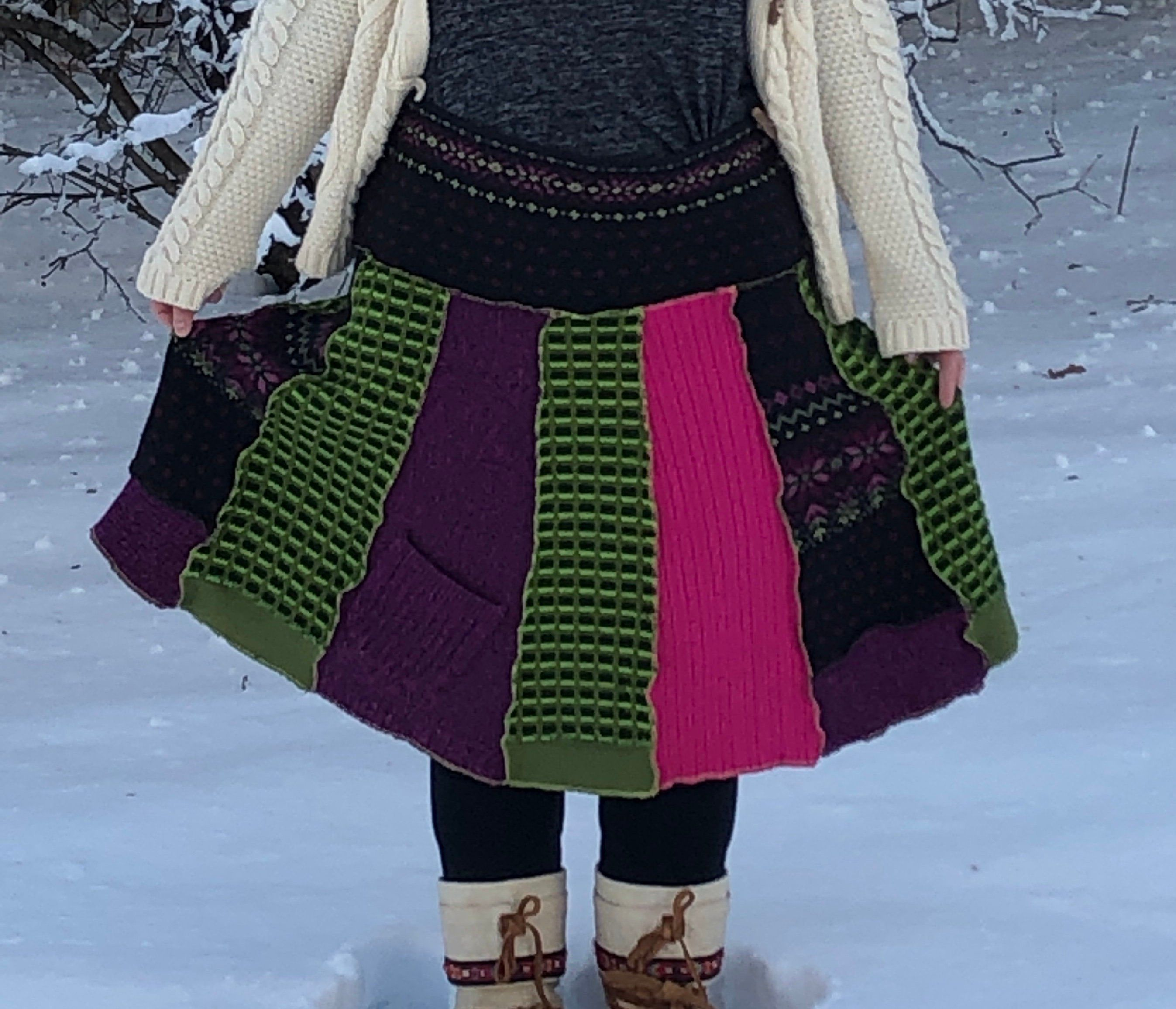 Upcycled long sweater skirt