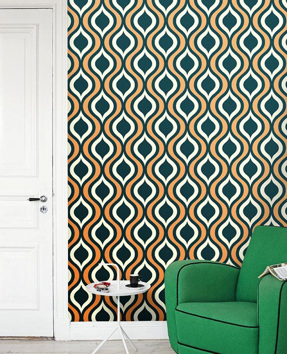 Removable Selfadhesive Colourful Vinyl Wallpaper By Patprintbyamy 36 00 You Can Choose All Three Colors Vinyl Wallpaper Ogee Pattern Wall Wallpaper
